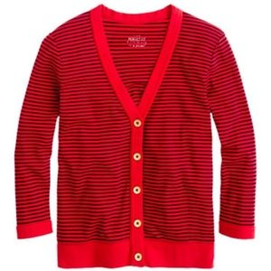 J. Crew The Perfect Fit Red Striped Cardigan